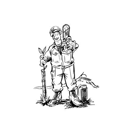 woodworker cartoon illustration vector