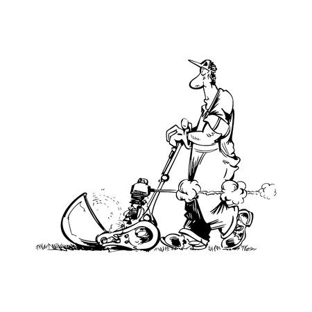 man gardener cartoon illustration vector