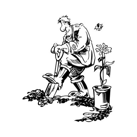 tuinman werken cartoon vectorillustratie
