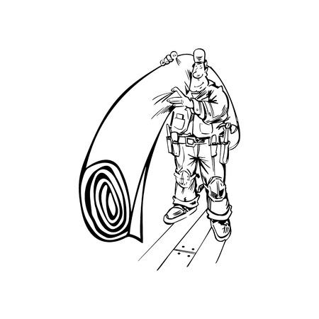 Hand-drawn Vector illustration of a Floor or Carpet Man