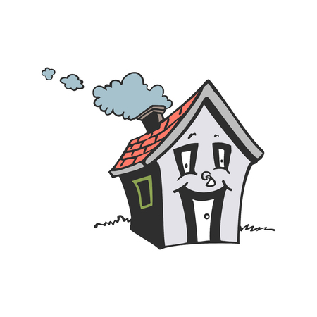 cute smile house cartoon illustration vector