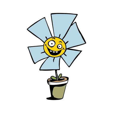 happy sunflower cartoon vector illustration