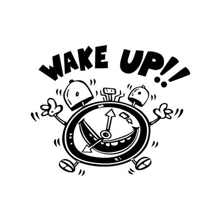 目を覚ます目覚まし漫画イラスト  イラスト・ベクター素材