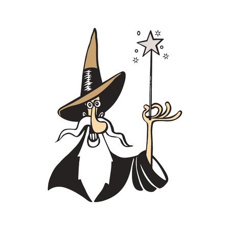Vieja ilustración de vector de dibujos animados de bruja mago Foto de archivo - 81140988
