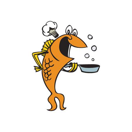 ilustração de desenhos animados de personagem de peixe chef