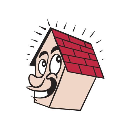 cute house smile cartoon illustration vector