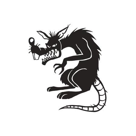 邪悪な黒いラット漫画イラスト  イラスト・ベクター素材