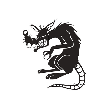 악마 검은 쥐 만화 그림 벡터