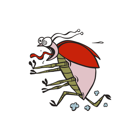 bug cartoon run illustration vector