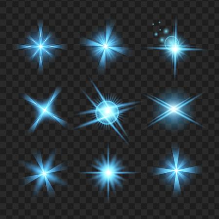 青い輝きの効果グラフィック光と星します。透明なデザイン要素の背景。