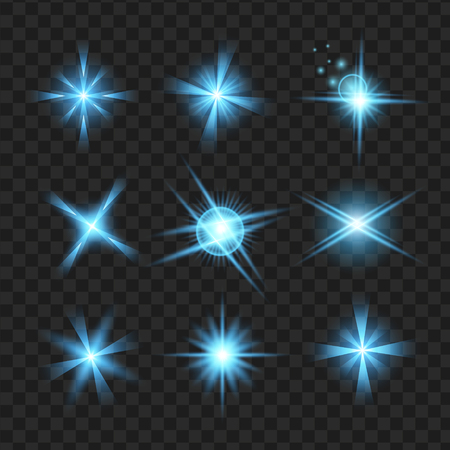 blue shine stars with glitters, Effect graphic light. Transparent design elements background. Illustration