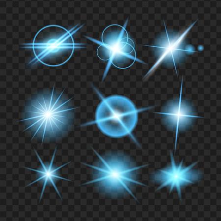 blue shine stars with glitters, Effect graphic light. Transparent design elements background. Illusztráció