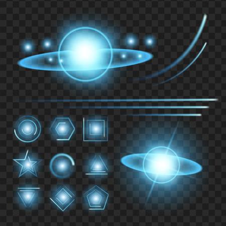 blauwe glans sterren met glitters, sparkles pictogrammen instellen. Effect twinkeling, verblinding, scintillatie-elementteken, grafisch licht. Transparante ontwerpelementen achtergrond. Gevarieerde sjabloon vectorillustratie