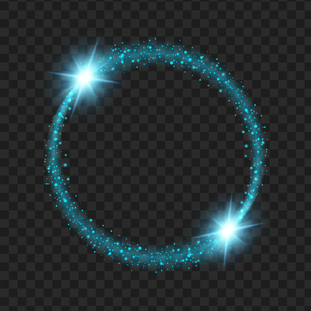 round blue glow light effect stars bursts with sparkles isolated on black background. For illustration template art design, Christmas celebrate.