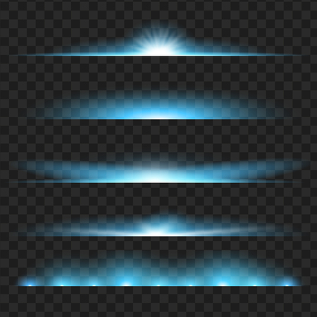 Set of blue glowing light effect. Isolated on black transparent background. Vector illustration, eps 10.