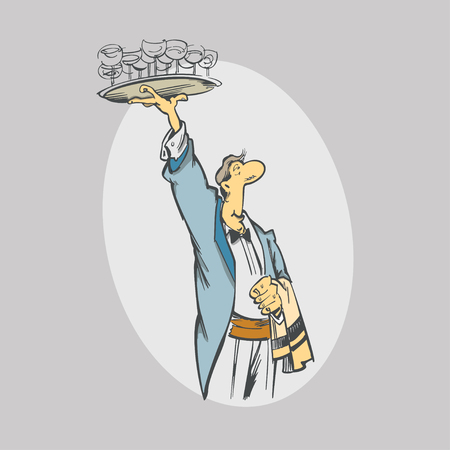 Cartoon waiter with  glasses on tray. Service workers and catering. vector Illustration Ilustração