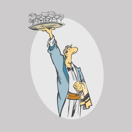 Karikaturkellner mit Gläsern auf Tellersegment. Servicemitarbeiter und Catering. Vektor-Illustration Standard-Bild - 81141375