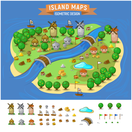 Vector set. Summer vacation. Tropical islands. Time to travel -Island Map With Elements Set 向量圖像
