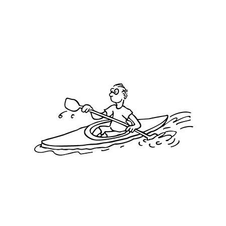 ボート選手。輪郭を描かれた漫画 handrawn スケッチ イラスト。