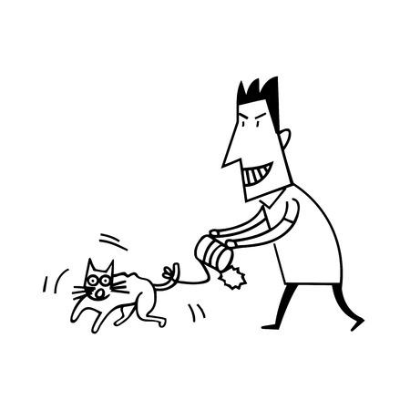 ヒューマン ・ イラストレーションによる動物虐待  イラスト・ベクター素材