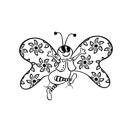 Butterfly Dancing. outlined cartoon handrawn sketch illustration vector.