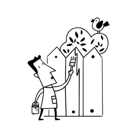 holing: man paint home fence illustration vector Illustration