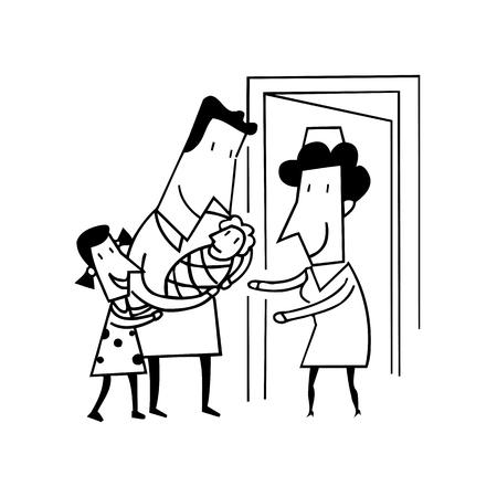新しい赤ん坊を持つ誇りに思ってお父さん。輪郭を描かれた漫画 handrawn スケッチ イラスト。