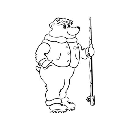 bear fishing cartoon. outlined cartoon handrawn sketch illustration vector.