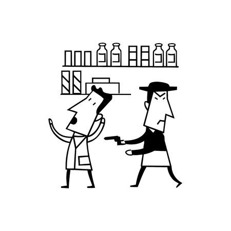 強盗銃漫画です。輪郭を描かれた漫画 handrawn スケッチ イラスト。犯罪の図