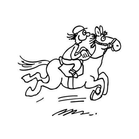 cartoon paardrijden. geschetst cartoon hand getrokken schets illustratie vector. Stock Illustratie