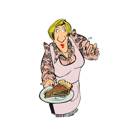 mother cooking pizza cartoon character . Vector Illustration design. Ilustracja