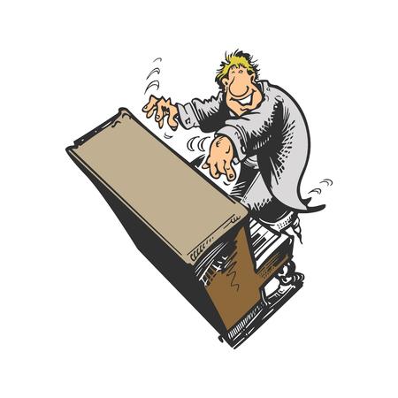 피아노 연주 피아노 만화 캐릭터입니다. 벡터 일러스트 레이 션 디자인.