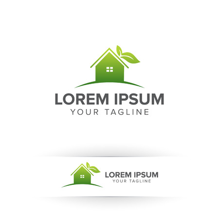 Green home eco house nature logo design concept
