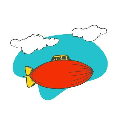 blimp 비행기 만화입니다. 벡터 일러스트 레이 션 디자인.
