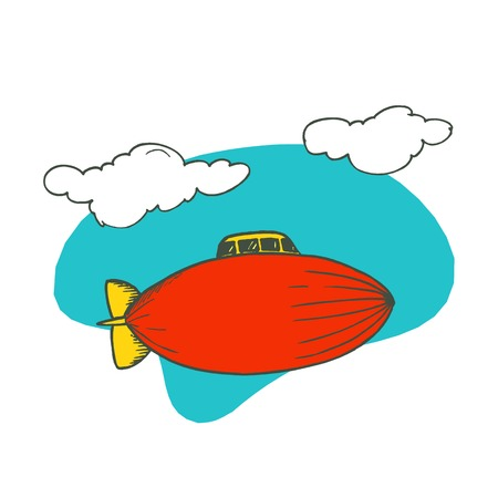 blimp airplane cartoon. Vector Illustration design.