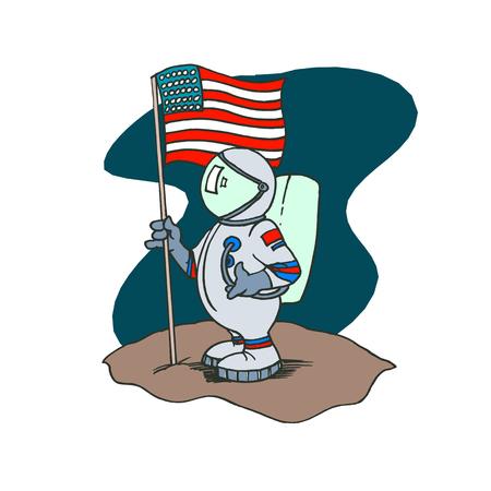 Personnage de dessin animé américain de l'astronaute. Conception d'illustration vectorielle.