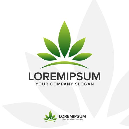 leaf crown logo. Landscaping Leaf nature logo design concept template