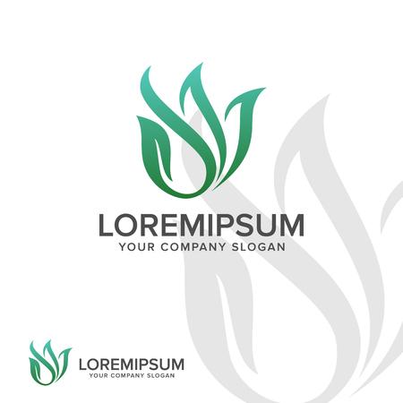 abstract leaf logo. Landscaping Leaf nature logo design concept template