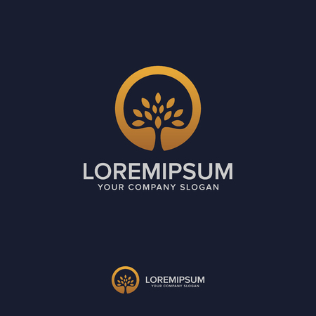tree luxury logo design concept template