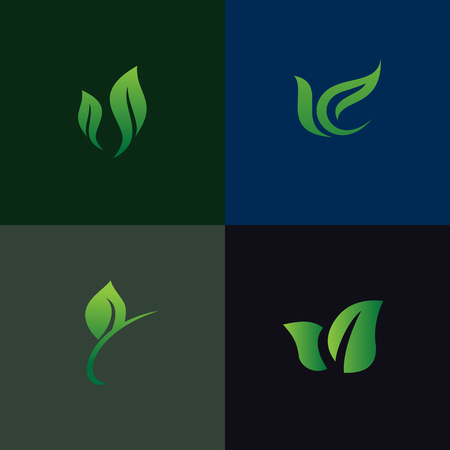 leaf nature logo set collection. Environmental and Landscaping gardening logo. Illusztráció