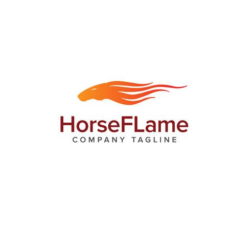 paardenvlam logo. Dieren logo ontwerpsjabloon concept Stock Illustratie