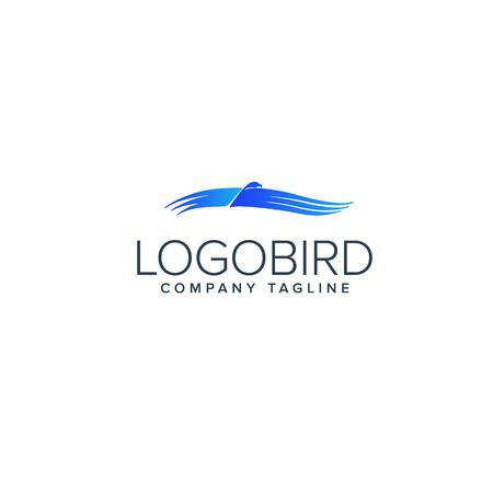 blue bird logo. Animals logo design concept template Illustration