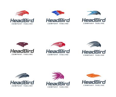 head bird logo colection set. Animals logo design concept template Illustration
