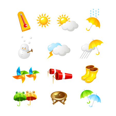 weerpictogram. 3D-pictogram Vector illustratie ontwerp collectie set Stock Illustratie