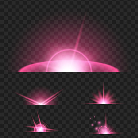 Set of purple glowing light effect. Isolated on black transparent background. Vector illustration, eps 10.