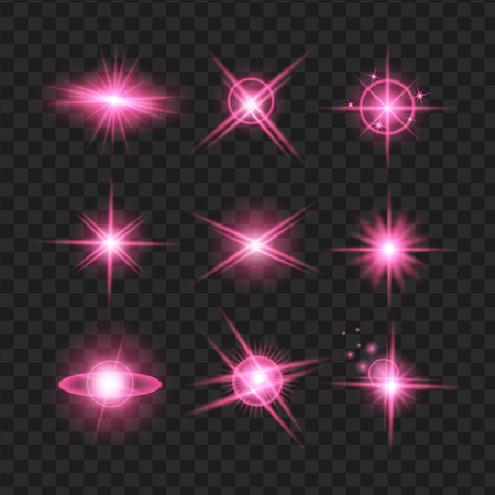 purple shine stars with glitters, sparkles icons set. Effect twinkle, glare, scintillation element sign, graphic light. Transparent design elements background. Varied template Vector illustration Ilustração