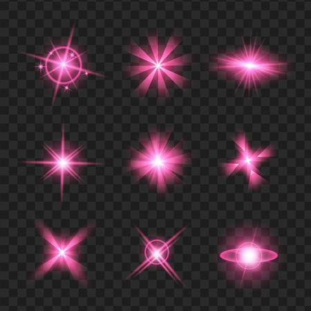 purple shine stars with glitters, sparkles icons set. Effect twinkle, glare, scintillation element sign, graphic light. Transparent design elements background. Varied template Vector illustration Illustration