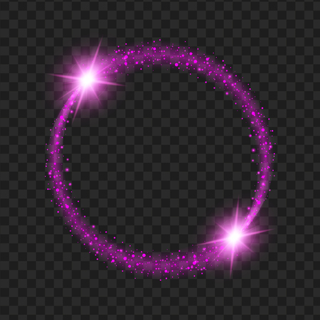 glittery: round purple glow light effect stars bursts with sparkles isolated on black background. For illustration template art design, Christmas celebrate.