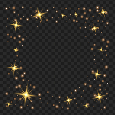 round yellow glow light effect stars bursts with sparkles isolated on black background. For illustration template art design, Christmas celebrate.