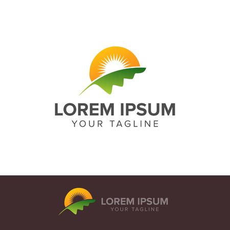 自然緑の風景の日の出のロゴのテンプレート